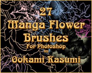 27 Manga Flower Brushes by OokamiKasumi