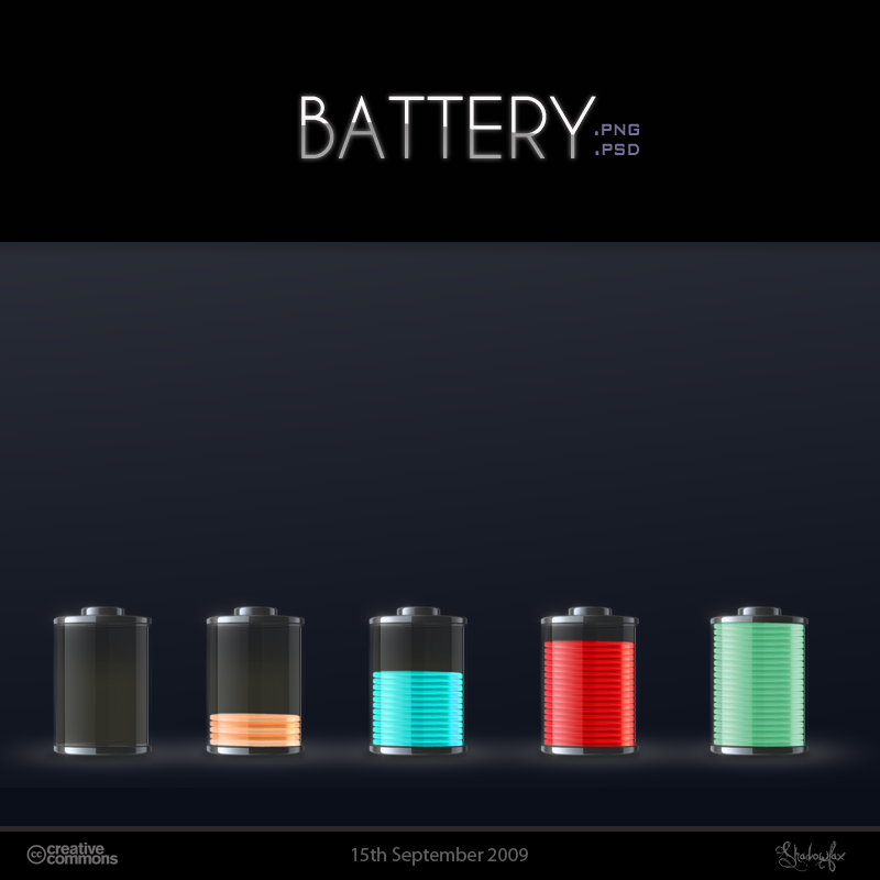 Battery Icons and psd by Shadowfax2009