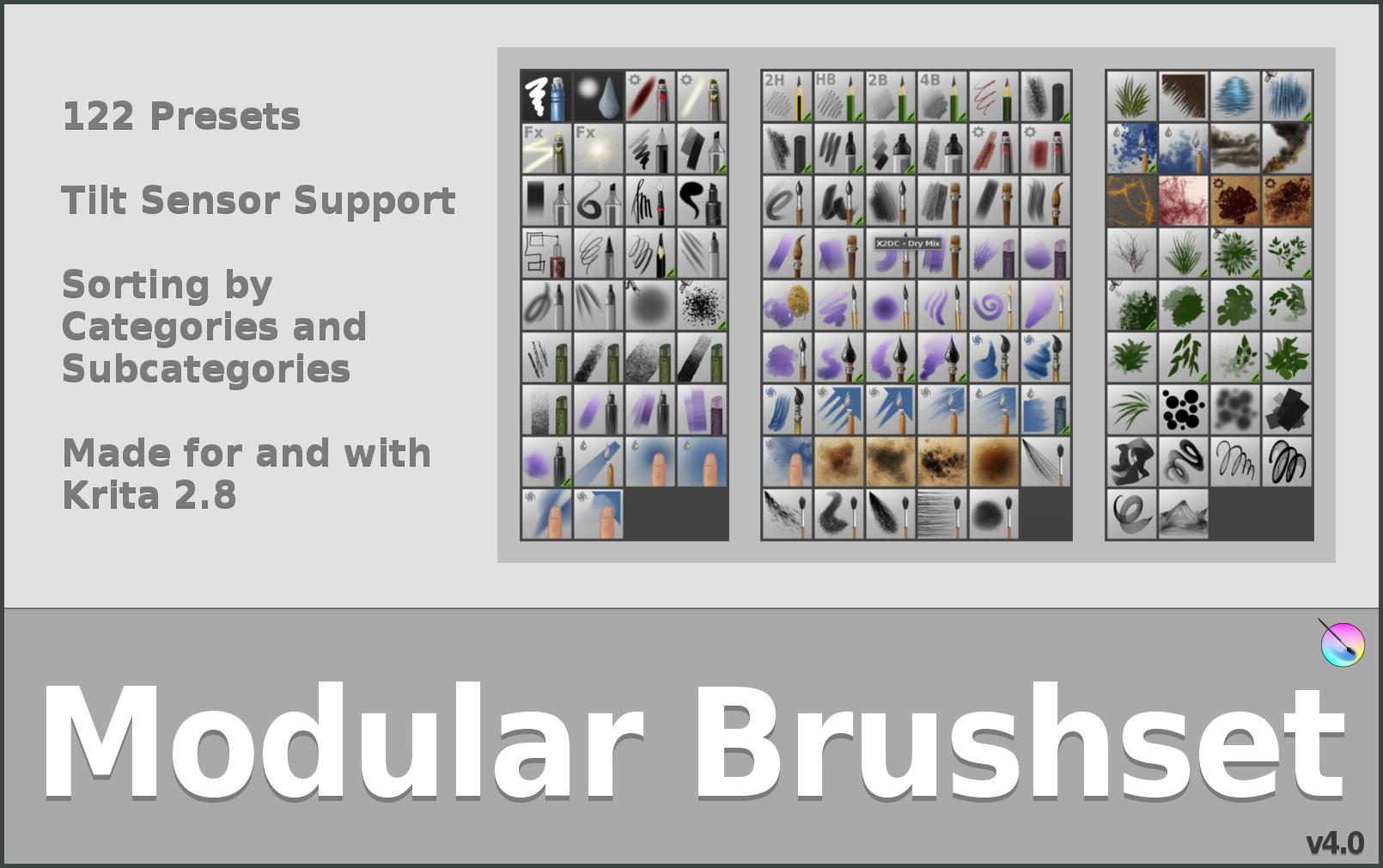 Krita Modular Brushset V4 by GrindGod
