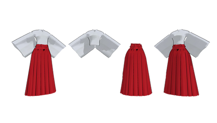 MMD hakama with skirt by mbarnesMMD