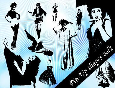 Pin-Up Photoshop Shapes Vol.1 by emmaalvarez