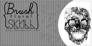 {Brush floral skull}