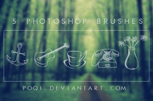 {5 Photoshop Brushes} by Poqi