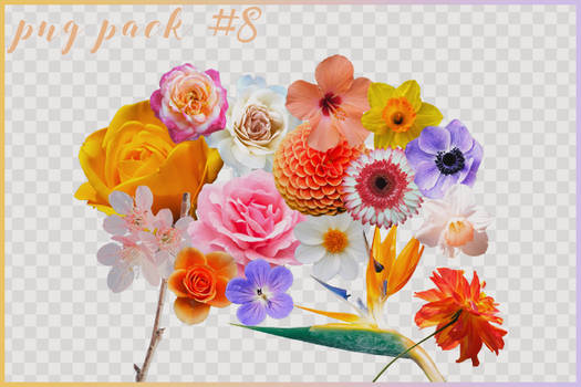 png pack eight // 16 flower pngs