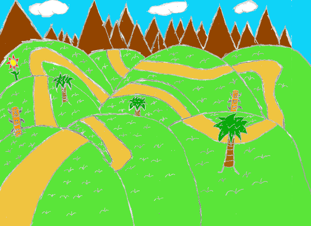 Scribble Drawing Zone : How to draw green hill zone