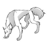Free wolf lineart w shaping by Goldy-Goldenwolf