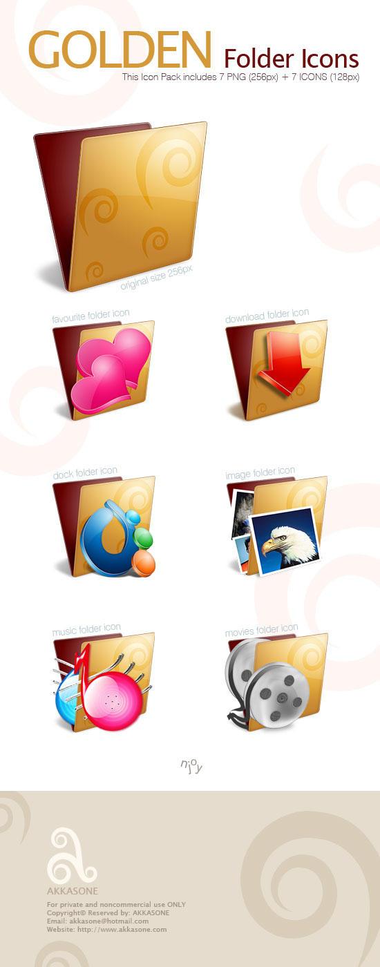 Golden Folder Icon Pack by akkasone