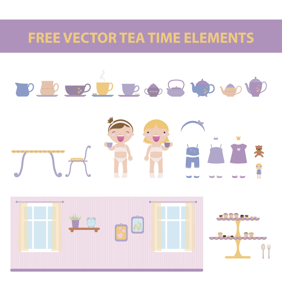 free vector tea time elements by harridan