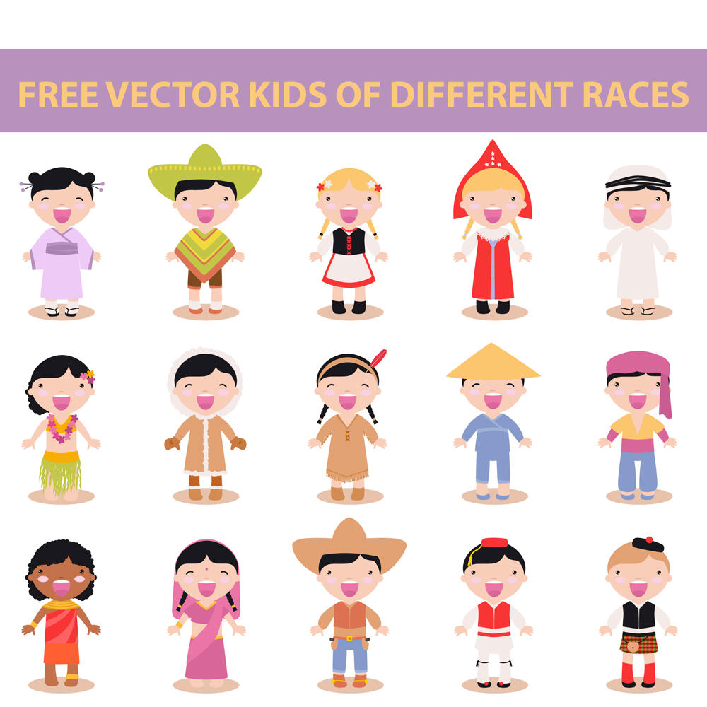 free vector kids of different races by harridan on DeviantArt