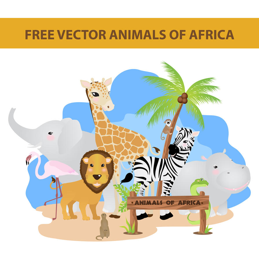 free vector animals of africa by harridan