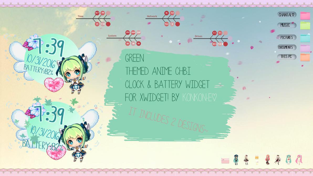 Green Chibi Clock TESTER by KonKon-E