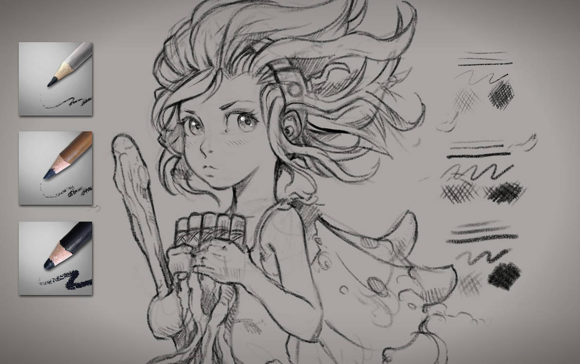 Krita brushes: Charcoal pencils by Deevad