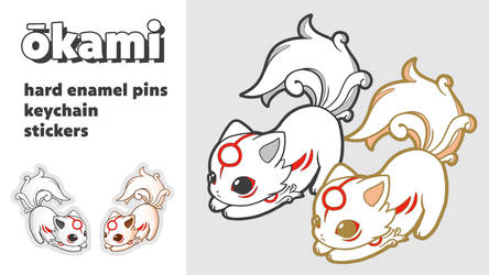 Okami kickstarter hard enamel pins and keychain