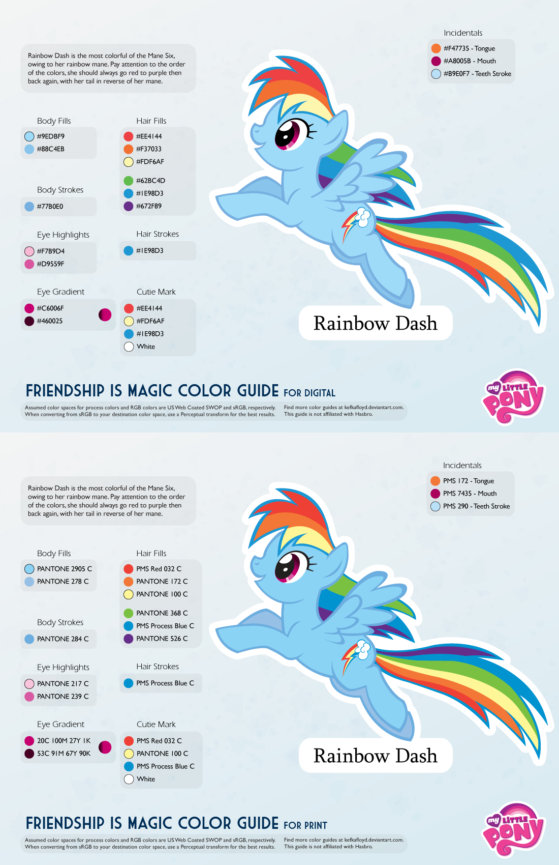 Color chart rainbow -  Rainbow Dash Color Guide 2 0 Updated By Kefkafloyd