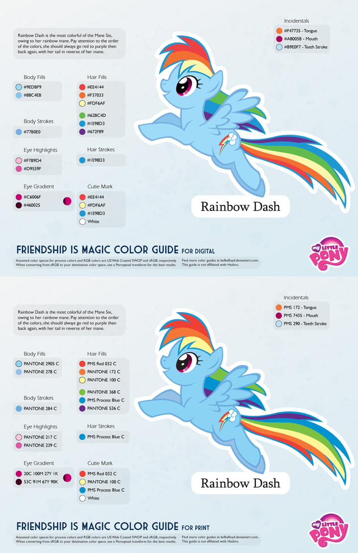 Rainbow Dash Color Guide 2 0 Updated By Kefkafloyd On