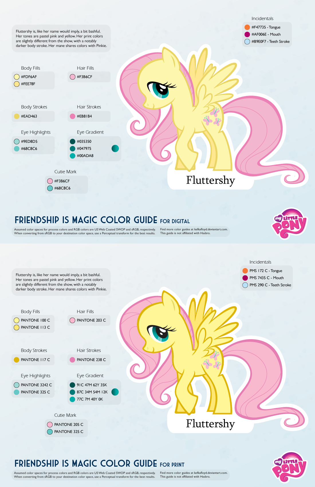 Fluttershy Color Guide 2.0 [UPDATED] by kefkafloyd