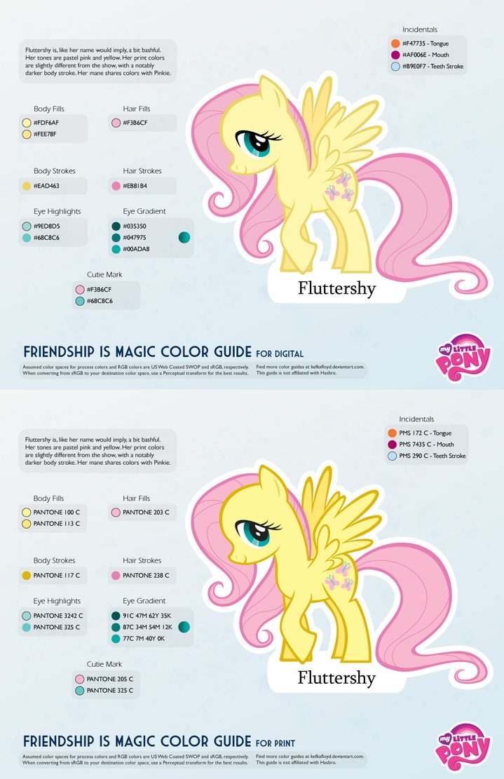 Fluttershy Color Guide 2.0 [UPDATED] by kefkafloyd