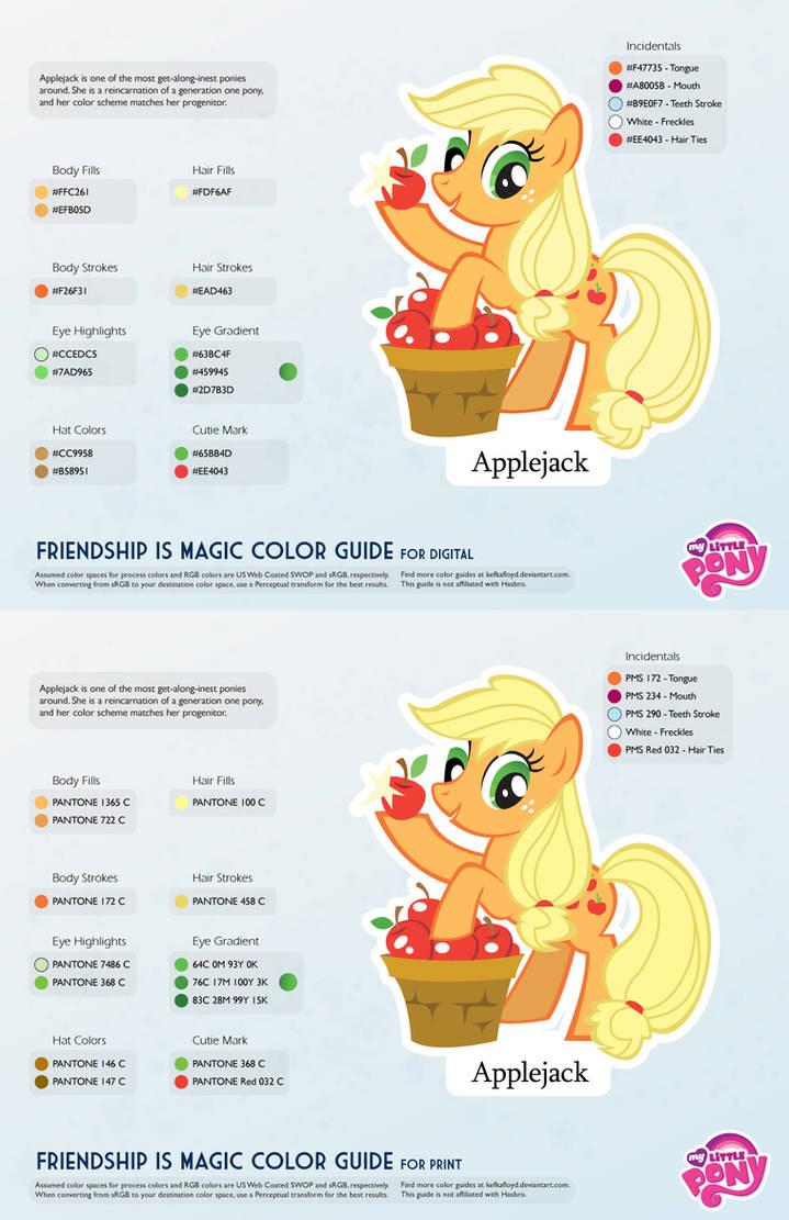 Applejack Color Guide 2 0 [UPDATED] by kefkafloyd on DeviantArt