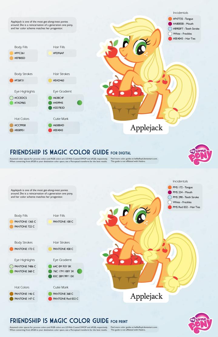 Applejack Color Guide 2.0 [UPDATED] by kefkafloyd