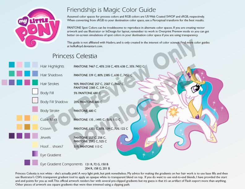Princess Celestia Color Guide by kefkafloyd