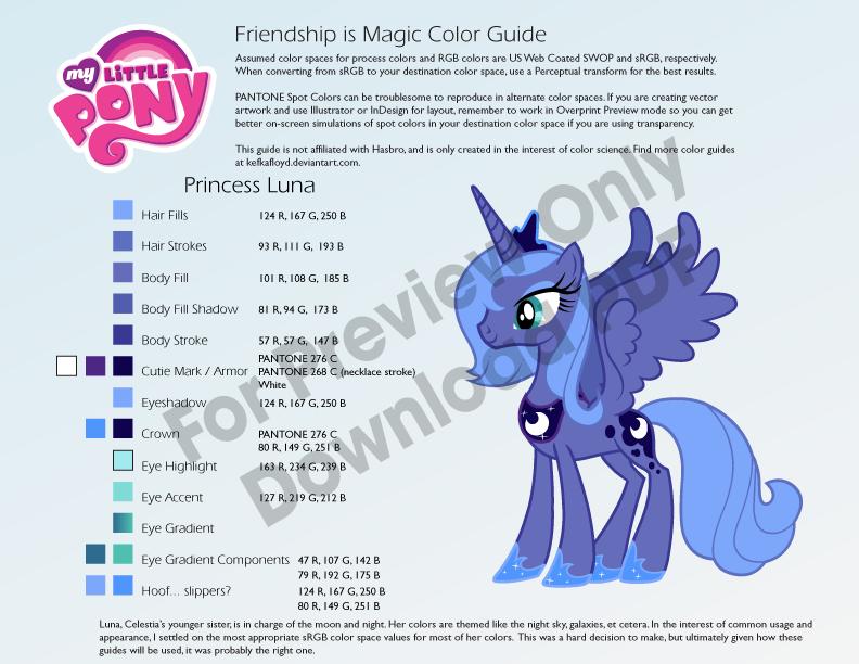 Princess Luna S1 Color Guide by kefkafloyd