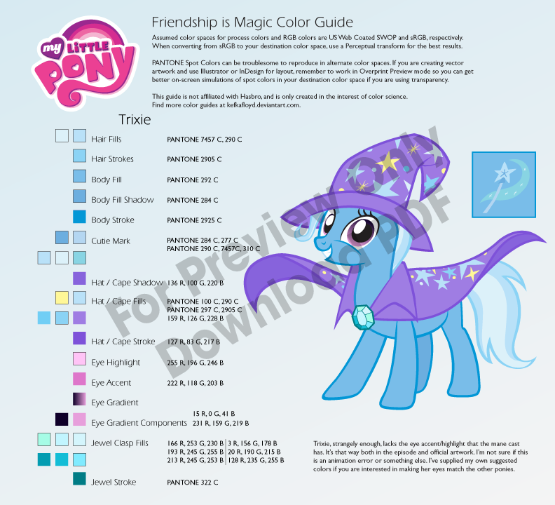 Trixie Color Guide by kefkafloyd