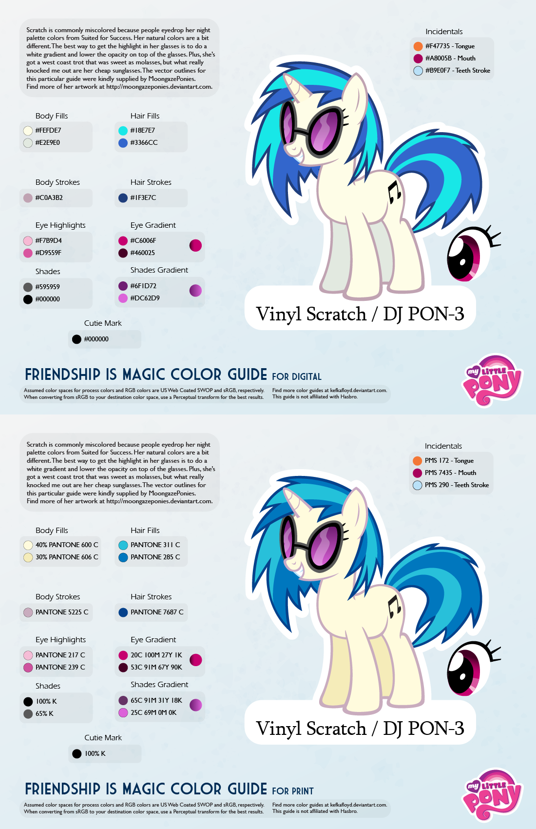 Mlp coloring pages dj pon 3 -  Vinyl Scratch Dj Pon 3 Color Guide 2 0 Updated By Kefkafloyd