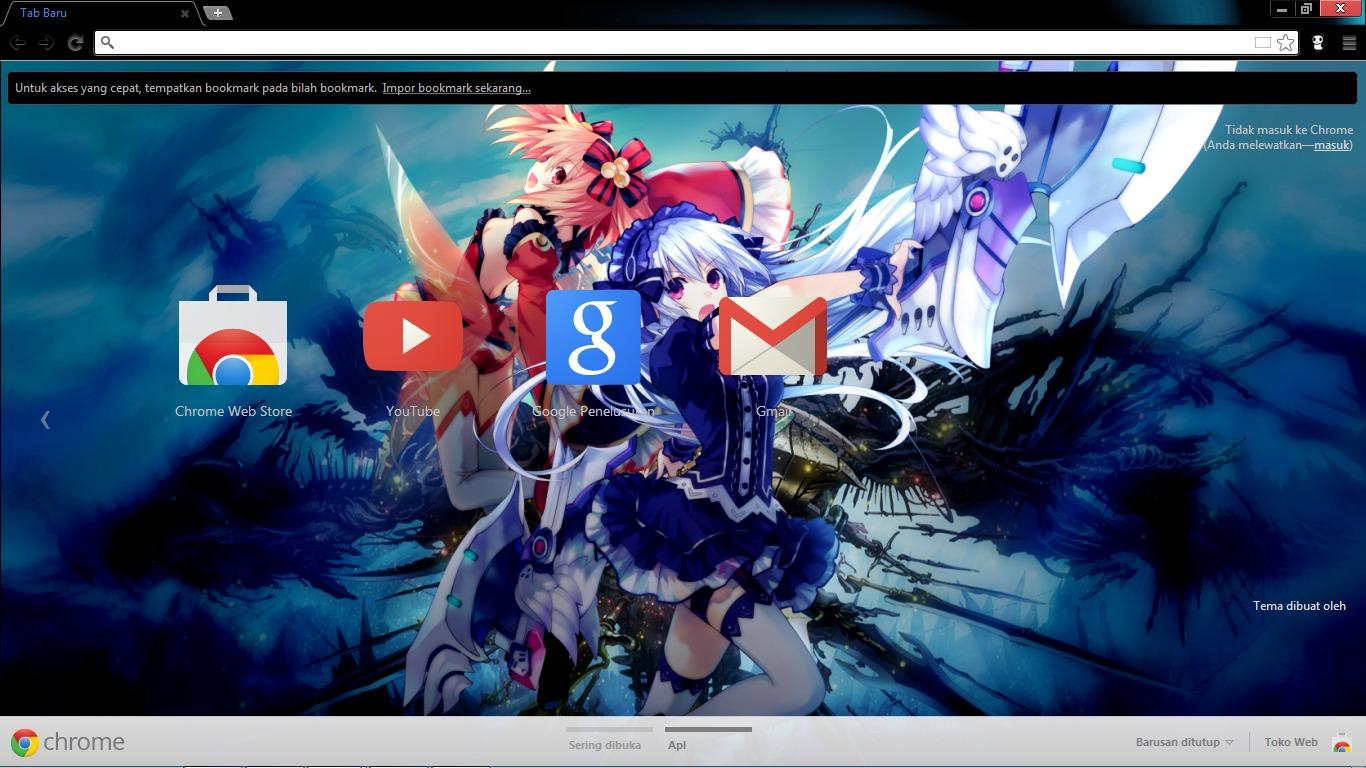 Themes in google chrome anime -  Fairy Fencer F Chrome Theme By Saint91xtreme