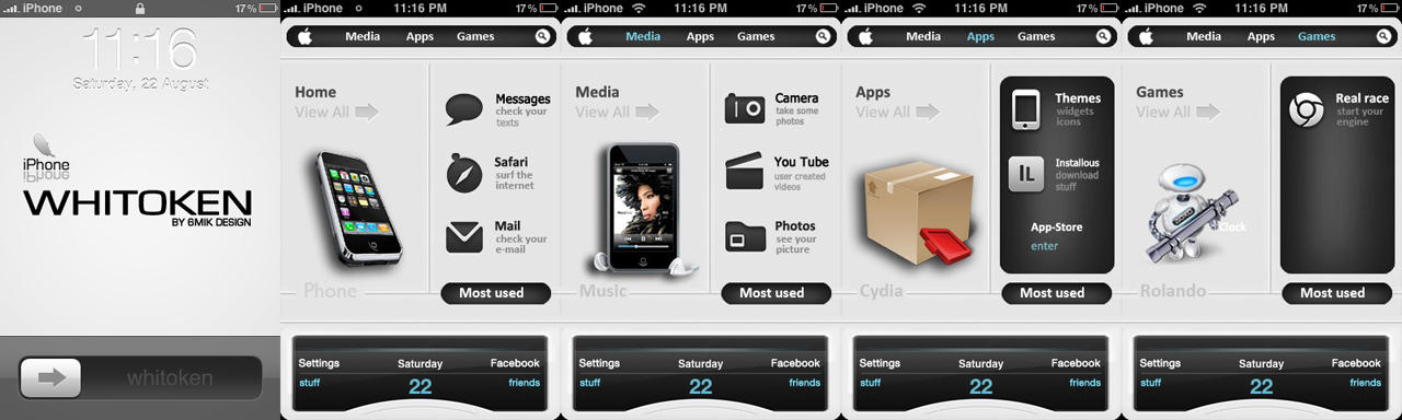 Whitoken iphone theme by 6mik