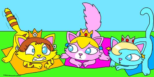 Crowned Cat Princesses Do Yoga