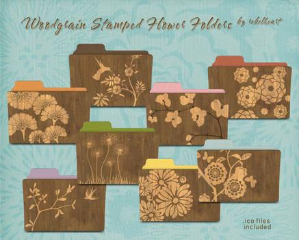 woodgrain stamped flower folders v1