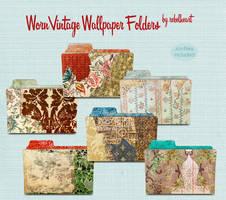 worn vintage wallpaper folders