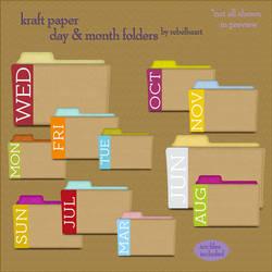 kraft paper day+month folders