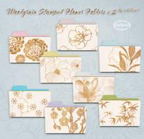 woodgrain stamped flower folders v2