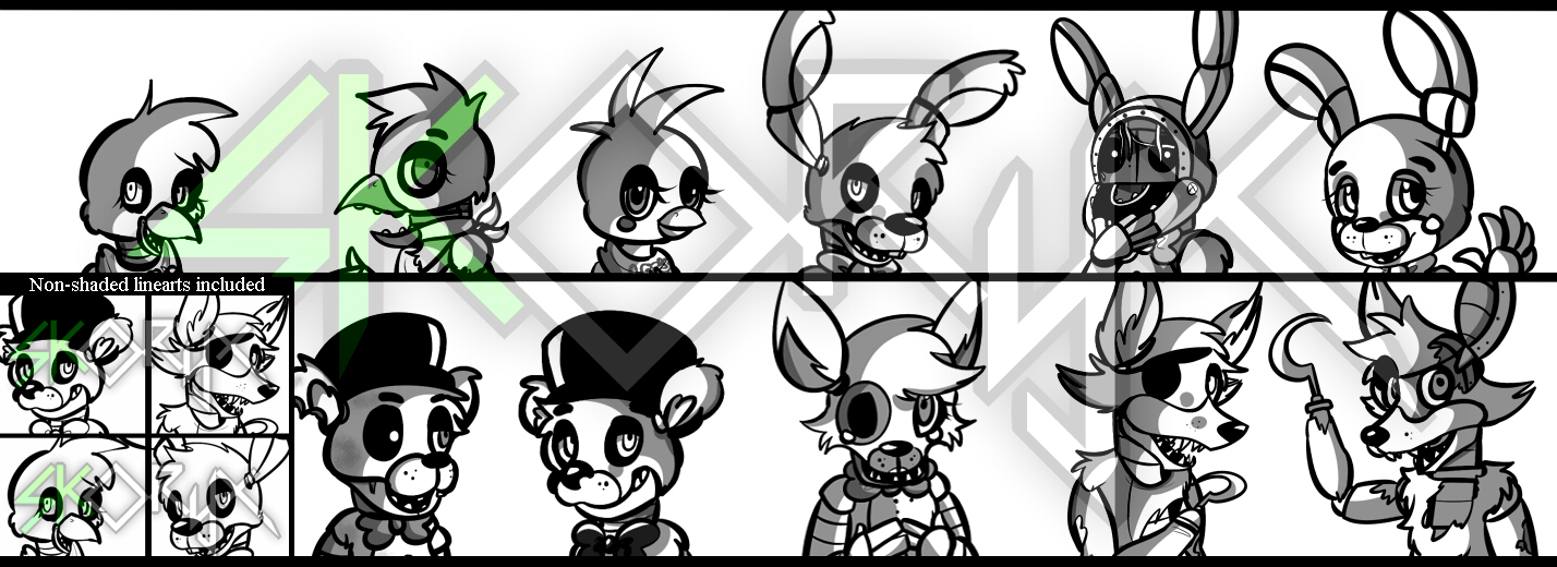P2u five nights at freddy s full body linearts by skoryx on