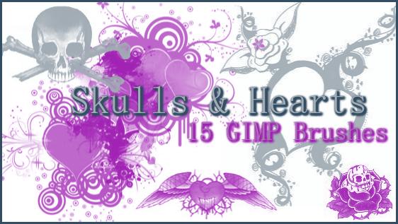 GIMP Skulls and Hearts