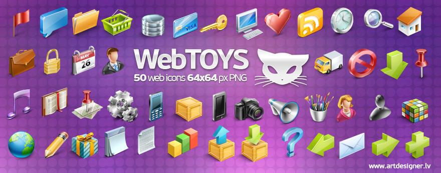 Webtoys 50 icons by LazyCrazy