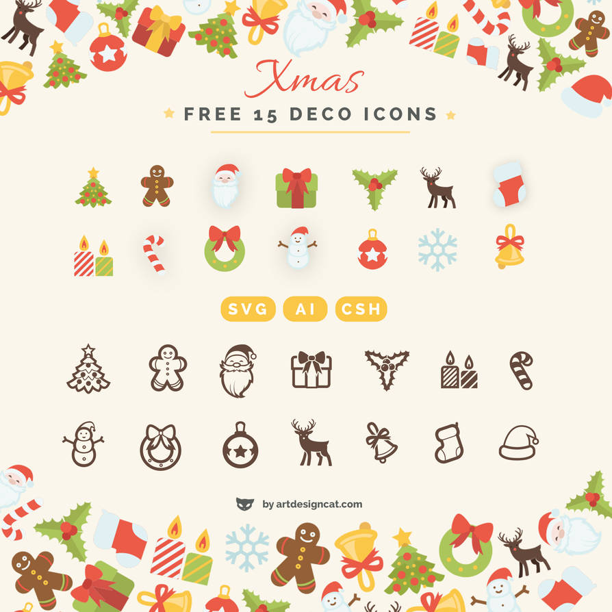 Xmas Free Deco 15 vector Icons in ai svg by lazymau