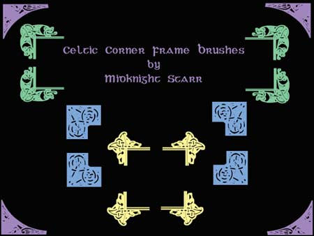 Celtic Corner Frame Brushes by MidknightStarr