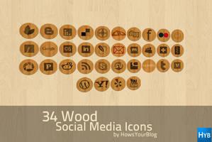 34 Wood Social Media Icons by fiyah-gfx