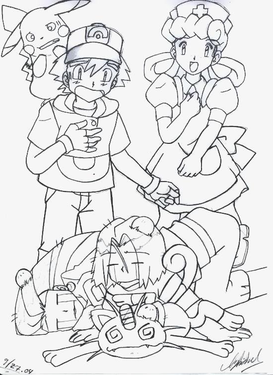 Ash, Pika, Joy, Team Rocket Pokemon by SidselC on DeviantArt