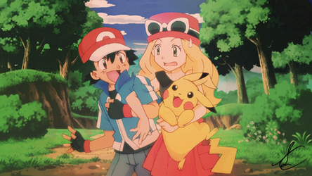 Pokemon X/Y Anime - Ash, Serena, Pikachu by SidselC