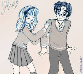 Harry/Hermione - Manga style [HARRY POTTER] by SidselC