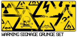 Warning Signage Grunge Set