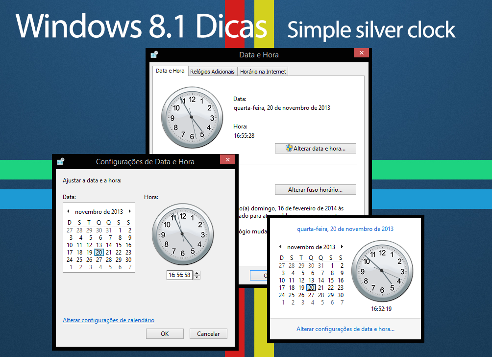 Simple Silver Clock for Windows 8.1 (timedate.cpl) by win81dicas on