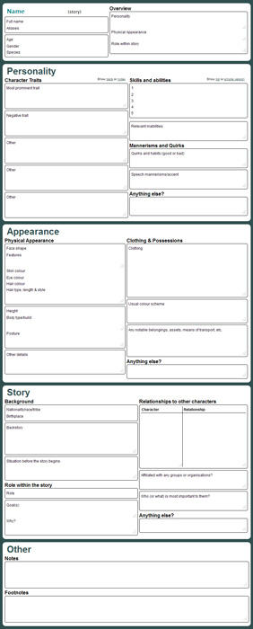 Character Reference Sheet - Version 2