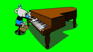 Mugman plays a piano with shadow green screen