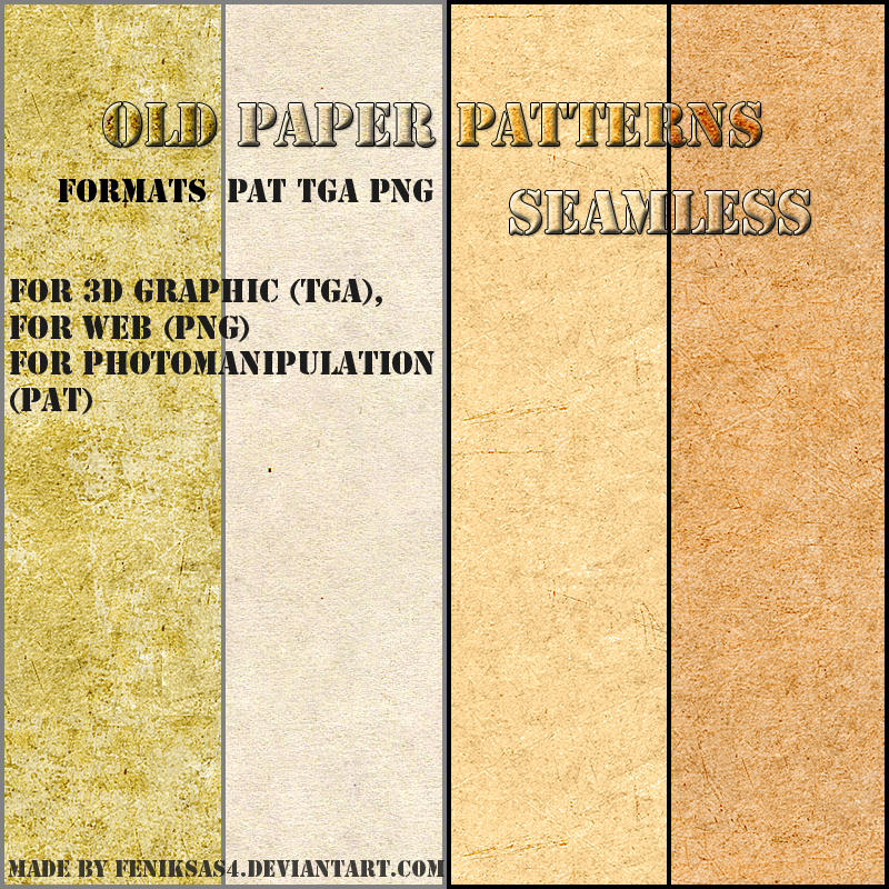 seamless old paper patterns by feniksas4