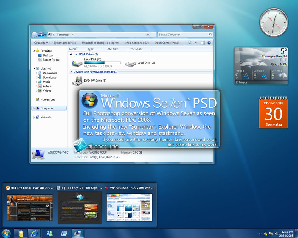 Windows Seven PDC 2008 PSD by dj-corny