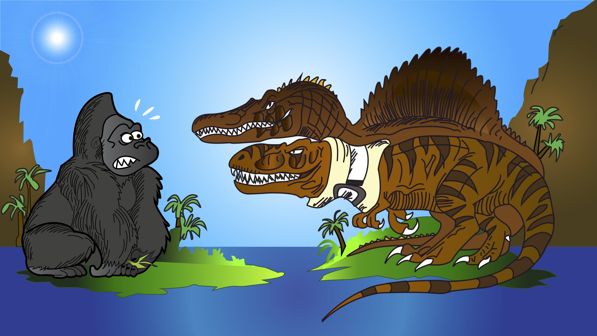 King kong vs t rex and spino by hodarinundu by eanimated